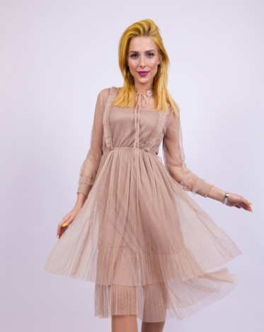 2b4b903447a Платье из мягкой сетки в горошек бежевый купить за 5499 руб. в  интернет-магазине kawaicat.ru